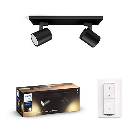 Philips Hue Runner Barrra de 2 Focos Inteligentes LED negros con Bluetooth, Luz Blanca de Cálida a Fría, Compatible con Alexa y Google Home, Negro (915005915201)