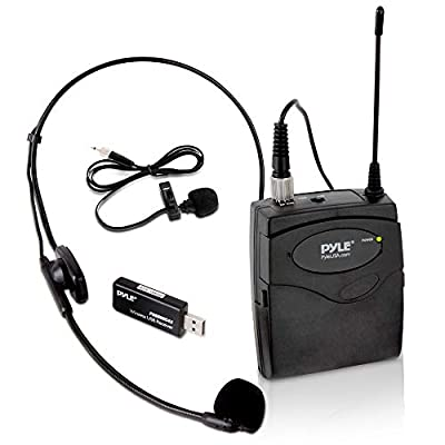 Belt Pack Wireless Microphone System - Mic Set with USB Receiver, Transmitter, Headset and Clip Lavalier Lapel Mic, Audio Cable, Two 'AA' Battery - Great for Karaoke, PA, Dj Party - Pyle Pro PUSBMIC43