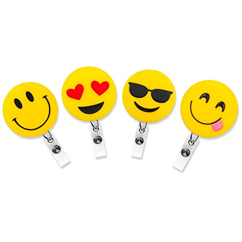 4pcs Emoji Retractable Badge Clips