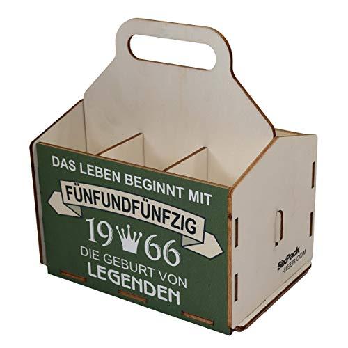 Bierträger aus Holz, Sixpack Bier, 6er Träger, Bier-Sechserträger, Biergeschenk, Geburtstag 55 Jahre, Geburtstagsgeschenk für Männer, 55 Jahre, Gravur, Druck, Holz, 55. Geburtstag, 1966, Vatertag