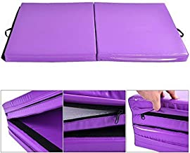 Giantex 6'x3.2'X4'' Gymnastics Mat Thick Folding Panel for for Gym, Aerobics, Yoga, Martial Arts with Hook & Loop Fasteners