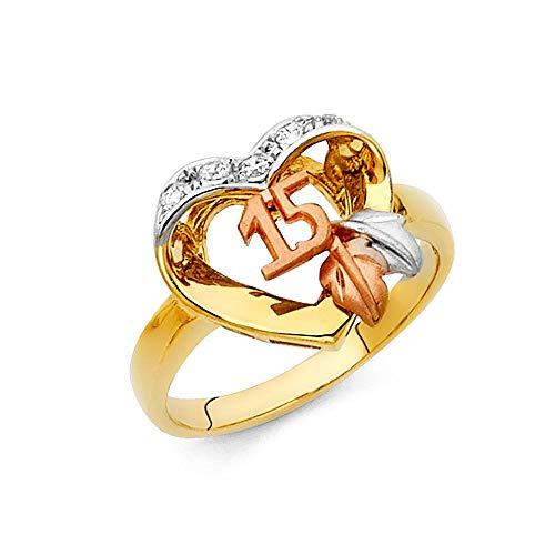Oro amarillo de 14 quilates, oro blanco y oro rosa con circonita cúbica, diamante de imitación, talla de anillo de quinceañera, 15 años, regalo de joyería para mujeres