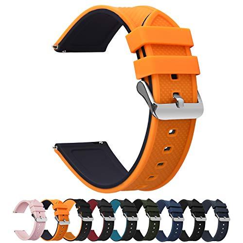 Fullmosa Silikon Uhrenarmband 22mm mit Schnellverschluss in 8 Farben, Regenbogen Weich Silikon Uhrenarmband mit Edelstahlschnalle,22mm Kürbisorang+schwarz