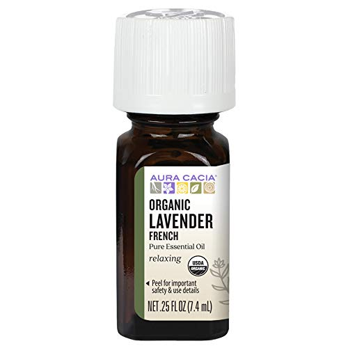 Aura Cacia 100% Pure French Lavender Essential Oil | Certified Organic, GC/MS Tested for Purity | 7.4 ml (0.25 fl. oz.) | Lavandula angustifolia