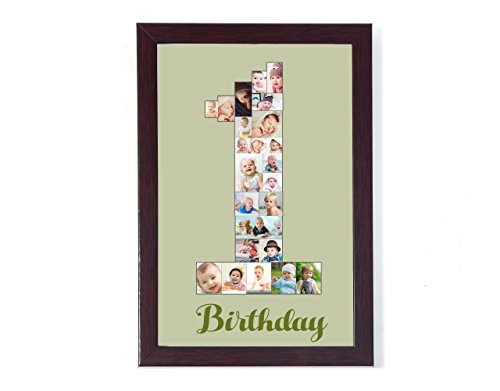 8in X 12in PERSONALIZED PHOTO COLLAGE FOR 1 ST BIRTHDAY ANY NUMBER CAN BE DONE COLLAGE PHOTO GIFT FRAME Personalised & Customised Gifts for Him Her Family Friends Father Mother Sister Brother Couple Spouse Wife Husband Baby Girlfriend Boyfriend Valentine's Day Loved Ones Birthday Anniversary Wedding & Marriage DIWALI GIFTS NEW YEAR GIFT DUSSERA GIFT CHRISTMAS GIFT