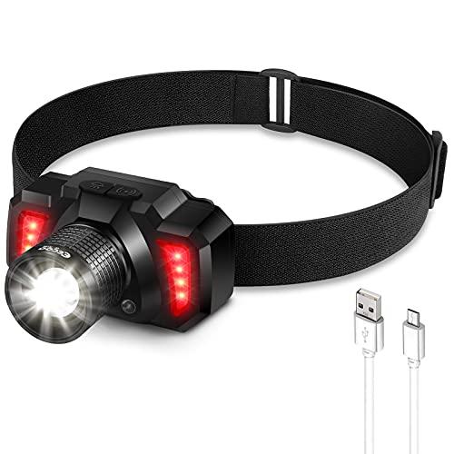 Linterna Frontal LED USB Recargable 1500mAh Zoom Telescópico, Linterna Cabeza 6 Modos Sensor de Movimiento, Frontal LED Impermeable IPX4, Adecuados para Correr, Acampar, Montañismo, Ciclismo