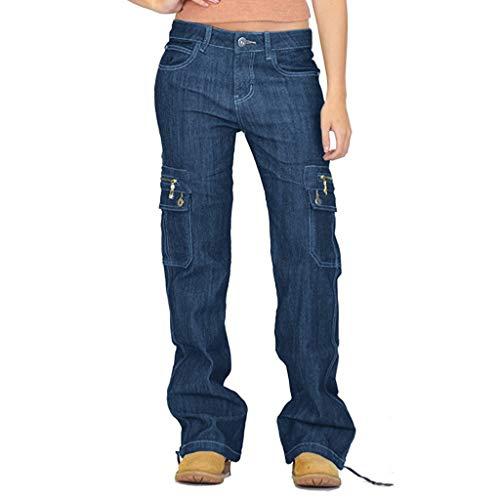 Xmiral Jeans Damen Breites Bein Denim Cargohose Große Größe Multi-Tasche Latzhose Taste Reißverschluss Länge Hosen Jogginghose(Dunkelblau,XL)