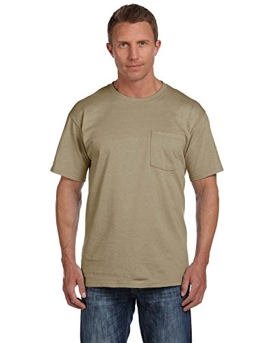 Fruit of the Loom Adult 5 Oz HD Cotton Pocket T-Shirt - Khaki - 3XL - (Style # 3931P - Original Label)