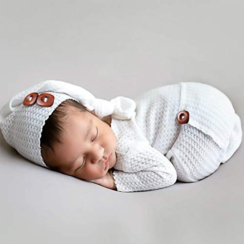 Newborn Romper Photo Prop Baby Jammies Pajamas with Long Tail Hat Photography Props, Baby Boy Knitted Outfits Crochet Hat Pants Set (White)