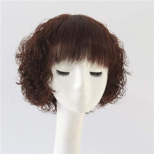 Extension des cheveux Mode 100% vrais cheveux courts cheveux bouclés pour la perruque de fibre résistante à la chaleur naturelle de femmes (Couleur : Dark brown)