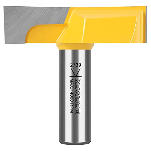 """KOWOOD 1/2"""" Inch Shank 2-1/4"""" (Dia.) Bottom Cleaning Router Bit (Mortising Bit, Spoil board Surfacing, Slab Flattening Woodworking Milling Cutter) with Carbide Tipped"""