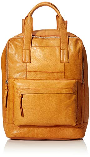PIECES Damen Pchope Leather Backpack Rucksack, Braun (Cognac), 15x35x25 cm