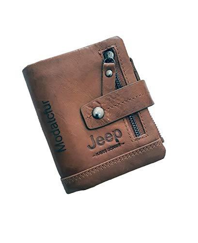 PORTAFOGLIO JEEP VINTAGE Pelle Portafoglio Uomo Slim Tessere Donna leather (Cuoio)
