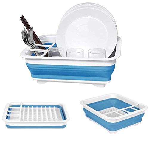 dish drainer for campers Collapsible Dish Drying Rack Rack Portable Dish Drainer Dinnerware Organizer Kitchen RV Campers Storage (Blue)