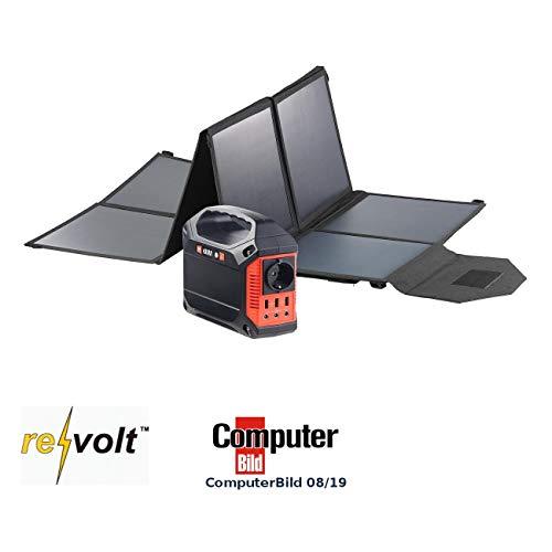 reVolt Akku: Powerbank & Solar-Konverter mit faltbarem 100-Watt-Solarpanel, 42 Ah (Solar-Powerbank mit Steckdose)