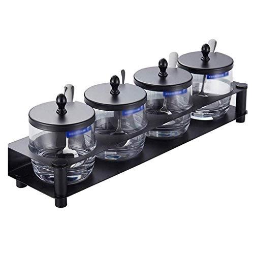 YUNLILI Elegante Caja de condimento Caja de Especias de Vidrio de Cuatro Cajas, Sal de Cocina y azúcar Caja de Almacenamiento de condimento, Caja de condimentos creativos para el hogar