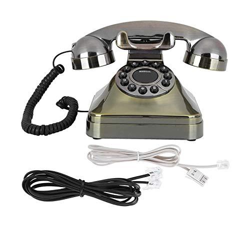 gujiu Teléfono de Escritorio Antiguo Teléfono Vintage con Cable Retro Teléfono Rotary Antiguo Auricular Teléfono A Tarjeta A Tarjeta de Escritorio con Cable con US/Reino Unido Cableado