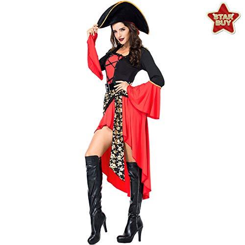 COSOER Weibliches Piraten Cosplay Kostüm Spiel Uniform Anzug Für Halloween Kostüme Party,Red-XXL