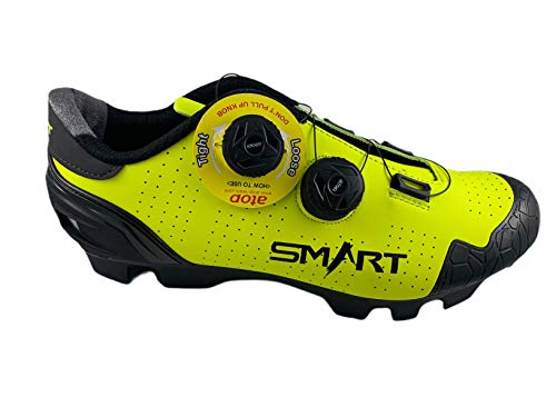 Zapatillas Smart de Ciclismo, para Ciclista, con Doble Cierre Rotativo - Color Amarillo Fluor - Talla 42