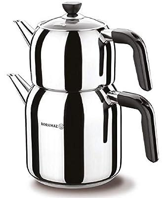 Teapot Set Turkish Tea Kettle Stovetop Warmer Tea Maker Water Heater 18/10 Stainless Steel Total Capacity 3 qt-2.9 lt Kappa A078-01