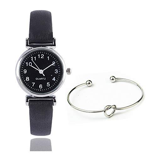 Damen Armbanduhr Set mit Silber Armreif Classic Analog Quarz Damen-Armbanduhren mit PU Leder Armband, 1 Stück Uhr, 1 Stück Armband