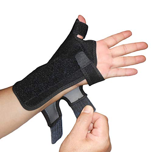 IRUFA,TB-OS-38, 3D Breathable Fabric RSI Wrist Thumb Spica Splint for Carpal Tunnel Syndrome, BlackBerry Thumb, Trigger Finger, Mommy Thumb Brace, Sprains, Arthritis and Tendinitis (Left Hand)