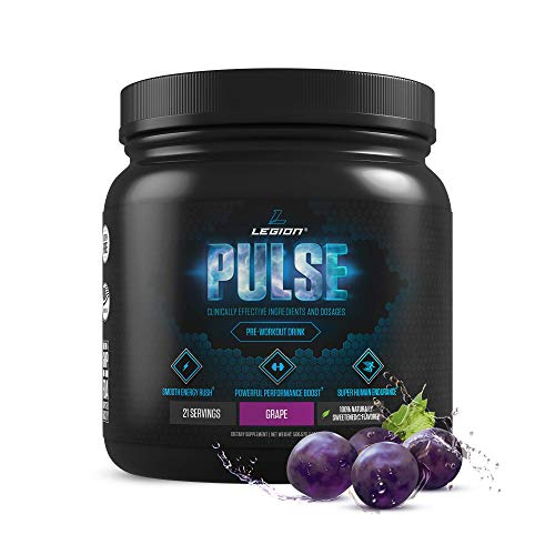 Legion Pulse, Best Natural Pre Workout Supplement for Women and Men – Powerful Nitric Oxide Pre Workout, Effective Pre Workout for Weight Loss, Top Pre Workout Energy Powder (Grape)