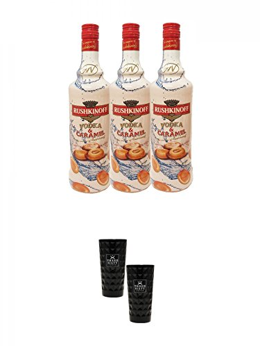 Rushkinoff Vodka & Caramello 3 x 1,0 Liter + Three Sixty black Vodka Glas 2 Stück (black)