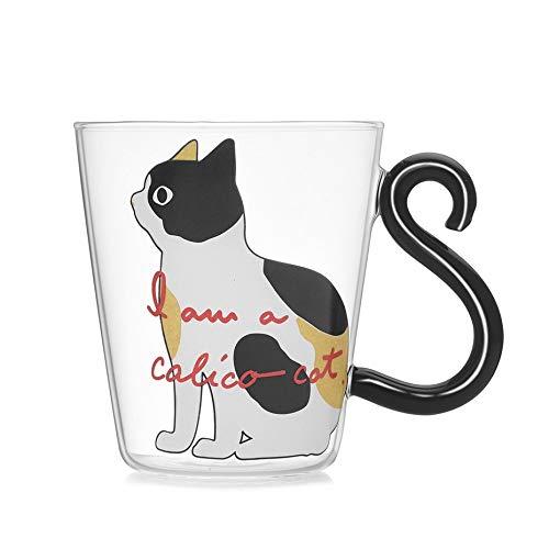 Tazza di acqua di gatto carino tazza di vetro gatto maniglia tazza di latte caffè tè tazza di succo di frutta bicchieri articoli per la casa ufficio tazza amanti amanti - bianco e nero e giallo