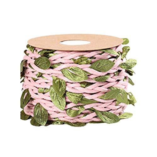 WUHUAROU Jute-Schnur mit künstlichen BlätternKünstliche Blatt Blätter Rebe für rustikale Hochzeit Zuhause Garten Dschungel Party Bastelarbeite und Dekorationen 5m -Heller Kaffee