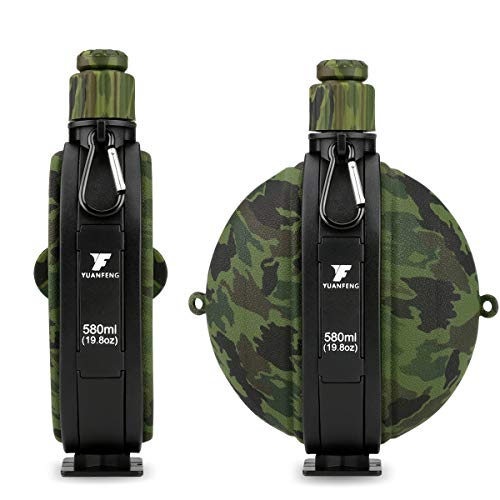CestMall Botella de Agua Plegable con Mosquetón Brújula Botella de Agua Plegable de Silicona Sin BPA 580ml (19.8oz) para Acampar Senderismo Viajar Caminar Correr al Aire Libre Deportes Actividades
