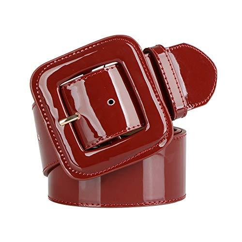 SAIBANGZI Cinturón de Cuero de la Mujer de Charol Ancho Sello Decorativo Vestido Abajo Chaqueta Correa Ancha cinturón de Cuero Cinturones Rojo