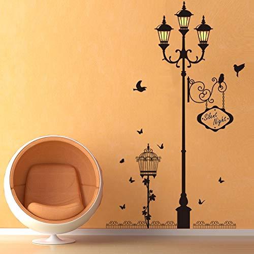 WLYUE DIY muurschilderingen, oude lamp vogel muursticker woonkamer slaapkamer bank achtergrond decoratie wandschilderij kunst decals wooncultuur behang