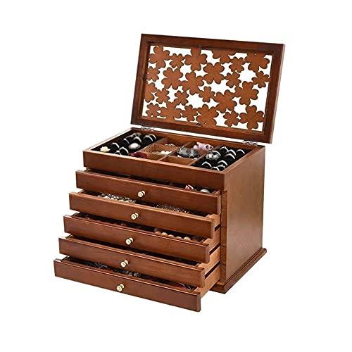 Bdesign Caja de almacenamiento de la caja de almacenamiento de escritorio multifuncional de seis pisos Caja de almacenamiento de joyas Sentido de madera de lujo Retro caja de almacenamiento Caja de gr