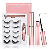 Magnetic Eyelashes - 5 Pairs Natural Magnetic Eyelashes with Eyeliners, ANEAR 3D Magnetic Reusable Magnetic Eyelashes with a Mirror and Tweezer, Eyelashes With Natural Look- No Glue Needed