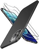 RANVOO Funda compatible con iPhone 12 Pro Max, carcasa compatible con iPhone 12 Pro Max con 2 protectores de pantalla, plástico duro ultrafino, gran agarre, acabado mate, color negro mate