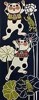 ヤギセイ 手ぬぐい 「雨蛙」 福招き猫 捺染てぬぐい プリント手拭 日本製 縁起物 梅雨 6月