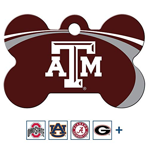 GoTags Texas A&M Aggies NCAA Personalized Engraved Sports Team Dog Tags, Bone Shape Pet ID Tags