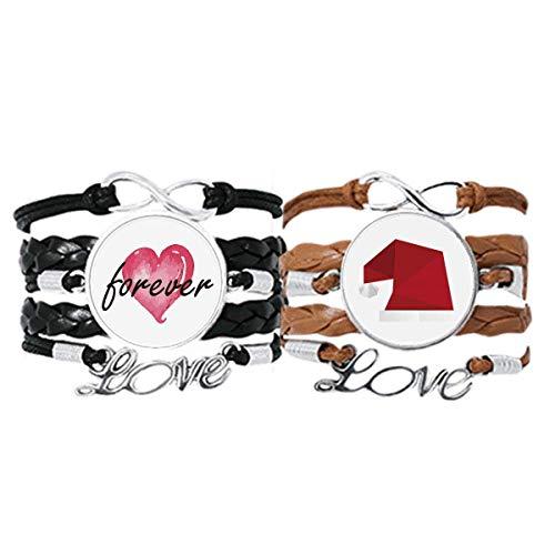 Bestchong Armband mit abstraktem Hut, Origami-Muster, Handschlaufe, Lederseil, Forever Love, Doppel-Set