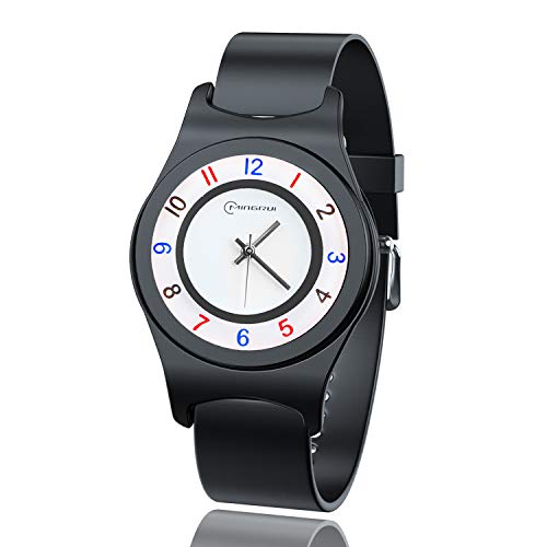 Armbanduhr Mädchen Jungen,Kinder Wasserdichtes analoges Quarzarmband Armbanduhren Leicht zu Lesen Zeit Weicher Riemen Armbanduhren Geschenk für Kinder 6-15 (Negro-8823L)