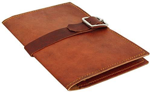 Gusti Leder nature'Ida' Genuine Leather Book Cover Journal Case Passport Holder Vintage Goatskin Natural Brown A130b