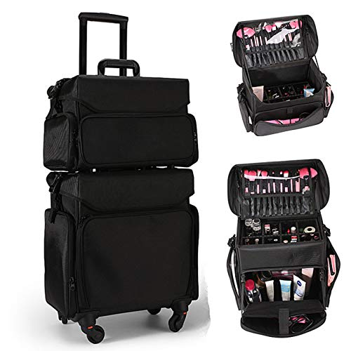 XXLHH Rolling Cosmetic Luggage Bag set,Makeup Case with wheels, Make-up artist Suitcase Toolbox,Beautician stylist Trolley Box