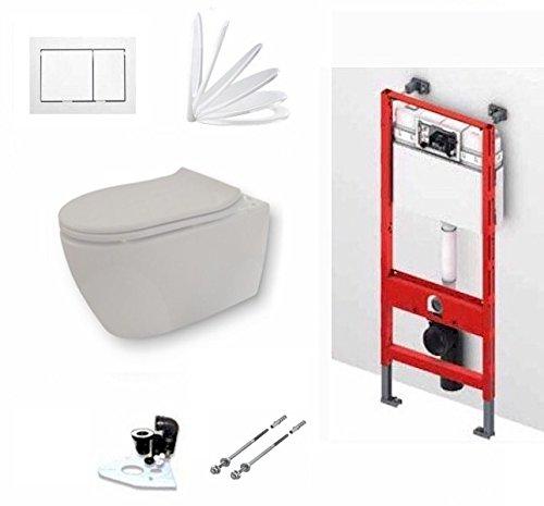 TECE Vorwandelement mit Keramag ICON Wand WC, Spülrandlos mit LotusClean Beschichtung, Absenkautomatik, Drückerplatte, WC Deckel