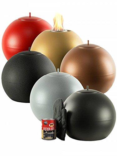 Pflanzwerk® Pflanzkübel Feuerschale Premium Edelstahl FEUERKUGEL Gold *Indoor & Outdoor DEKOFEUER* *Rußfrei* *Rauchfrei* *Deutsche Qualitätsware*