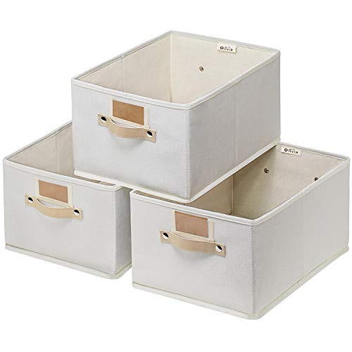 Large Baskets for Organizing 3 Pack Decorative Storage Boxes for Shelves Rectangle Closet Baskets Box Foldable Sturdy Storage Basket with Handle for Nursery HomeOffice