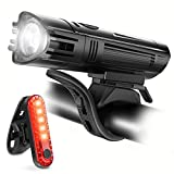 Ascher USB Rechargeable LED Bike Lights Set - Front Light Taillight Combinations LED Bicycle Light Set (2000mAh Lithium Battery, IPX4, 2 USB cables)