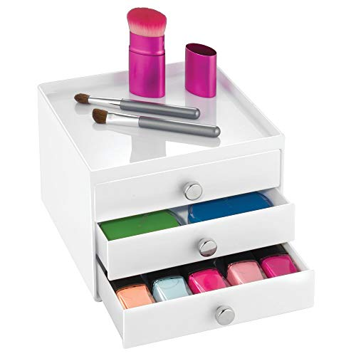 iDesign Clarity Cosmetic Organizer for Vanity Cabinet to Hold Makeup, Beauty Products - 3 Drawer Slim, White