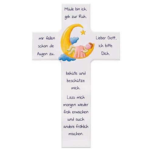 FRITZ COX® - Kinder- Holzkreuz: 'Kind im Mond' 15 cm-weiß - Wandkreuz mit zeitlosem Abend-Gebet für Kinder