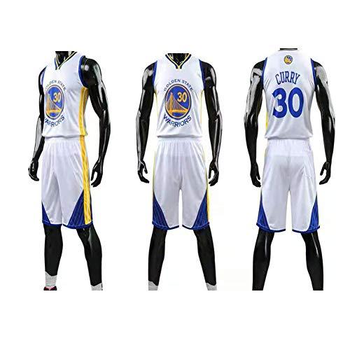 YUNAN Uniforme de baloncesto para hombre Conjunto de camiseta de baloncesto Golden State Warriors # 30 Stephen Curry Camiseta de malla de verano + Pantalones cortos, Blanco -XXXXXL