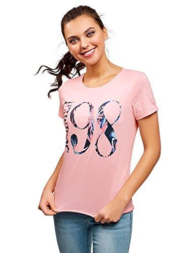 oodji Ultra Mujer Mujer Camiseta de Algodón con Inscripción y Parte Inferior...